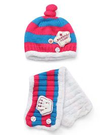 Flaunt Chic Star Winter Cap With Scarf - Rose Red & Blue