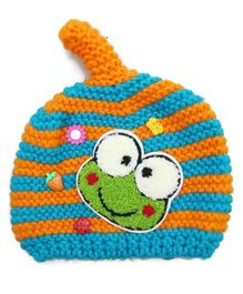 Flaunt Chic Frog Winter Cap - Sky Blue & Orange