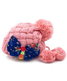 Flaunt Chic Bow & Buttons Winter Cap - Pink