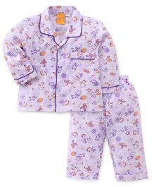 Yellow Duck Full Sleeves Night Suit Multi Print - Purple