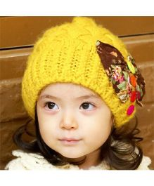 Flaunt Chic Bow & Buttons Winter Cap - Yellow