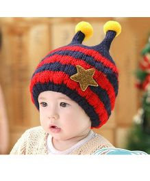 Flaunt Chic Winter Star Bee Cap - Navy Blue