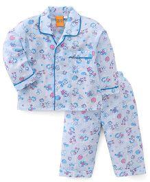 Yellow Duck Full Sleeves Night Suit Multi Print - Blue