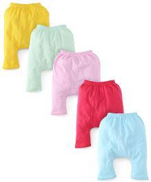 Babyhug Cotton Solid Color Diaper Leggings Set Of 5 - Multi Color