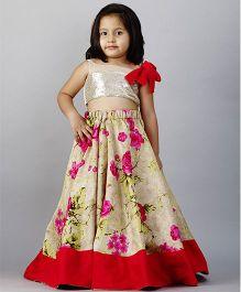 PinkCow Floral Ghaghra Choli - Silver & Beige
