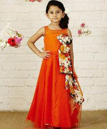 PinkCow Pin Tuck Bodice Dress - Orange