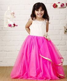 PinkCow Floor Length Gown With Flower - Off White & Pink