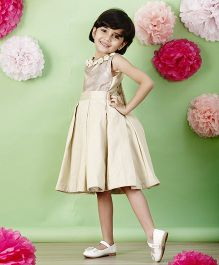 PinkCow Pleated Dress - Beige
