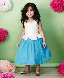 PinkCow Laced Flowered Dress - White & Blue