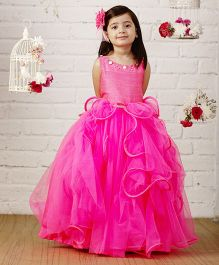 PinkCow Frilled Floor Length Gown - Hot Pink