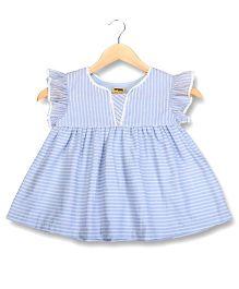 Hugsntugs Printed Stripes Top - Blue & White