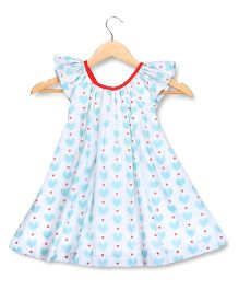 Hugsntugs Heart Print Top With Red Bow At The Back - White
