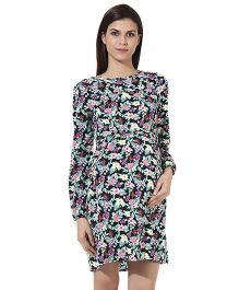 Oxolloxo Full Sleeves Maternity Floral Dress - Multicolor