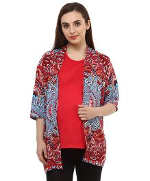 Oxolloxo Full Sleeves Paisley Print Maternity Shrug - Multicolor