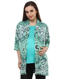 Oxolloxo Full Sleeves Paisley Print Maternity Shrug - Green