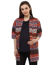 Oxolloxo Full Sleeves Stylish Paisley Print Maternity Shrug - Multicolor