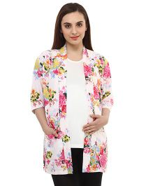 Oxolloxo Full Sleeves Stylish Floral Print Maternity Shrug - White