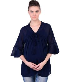 Oxolloxo Angel Sleeves Maternity Tie Up Top - Blue