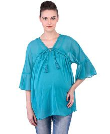 Oxolloxo Angel Sleeves Maternity Tie Up Top - Green
