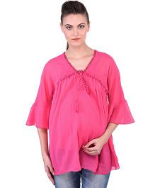 Oxolloxo Angel Sleeves Maternity Tie Up Top - Pink
