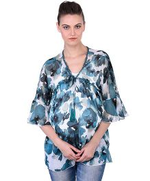 Oxolloxo Angel Sleeves Maternity Tie Up Printed Top - Blue & White
