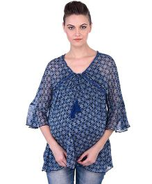 Oxolloxo Angel Sleeves Maternity Tie Up Printed Top - Blue