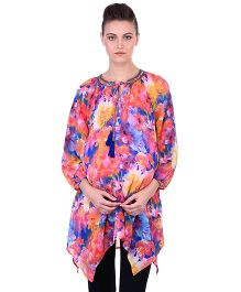 Oxolloxo Three Fourth Sleeves Floral Print Embellished Maternity Tunic - Multicolor