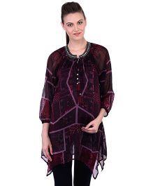 Oxolloxo Three Fourth Sleeves Printed Embellished Maternity Tunic - Multicolor