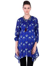 Oxolloxo Three Fourth Sleeves Plume Print Embellished Maternity Tunic - Blue