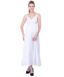Oxolloxo Singlet Maternity Maxi Dress - White