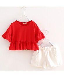 Lil Mantra T-Shirt & Shorts Set - Red & White
