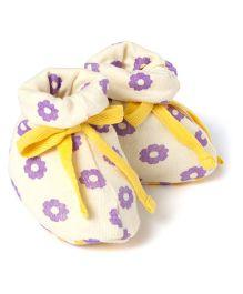 Pranava Organic Cotton Floral Booties  -  Yellow & Lilac