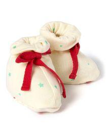 Pranava Organic Cotton Star Print Booties  - Off White