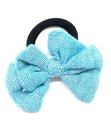 Eternz Haedos Collection Bow Ponytail Holder - Blue
