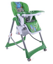 Baby High Chair With Tray Animal Print Green - HC-580