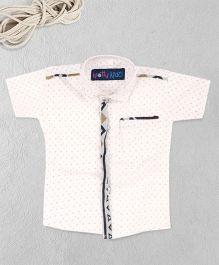 Knotty Kids Trendy Half Sleeve Printed Shirt - White