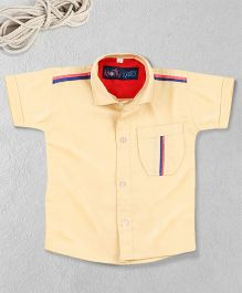 Knotty Kids Plain Half Sleeve Shirt - Beige