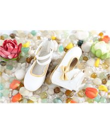 LCL Party Wear Ankle Shoes Bow Applique - White Golden