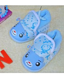 Little Bunnies Happy Face Infant Booties - Blue