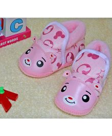 Little Bunnies Happy Face Infant Booties - Pink