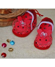 Little Bunnies Lace Design Infant Booties - Red