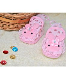 Little Bunnies Lace Design Infant Booties - Pink