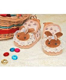 Little Bunnies Lace Design Infant Booties - Brown