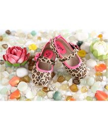 LCL Printed Belly Shoes Bow Applique - Beige Pink
