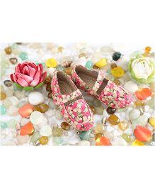 LCL Loafer Shoes Floral Design - Pink