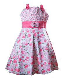 Whostiny Sleeveless Singlet Floral Printed Frock - Pink