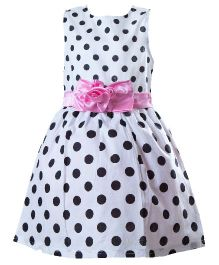 Whostiny Polka Dotted Party Wear Frock - White & Black