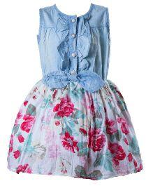 Whostiny Sleeveless Demin Flower Dress - Blue