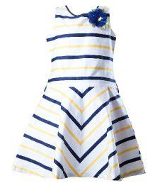 Whostiny Sleeveless Stripes Pattern Dress - White And Blue