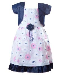 Whostiny Singlet Dress With Shrug Floral Applique - Pink And Blue